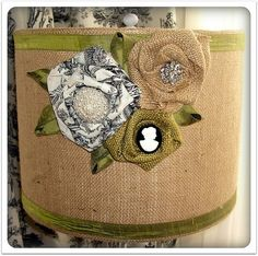 burlap lamp shade! @Jena McClendon, i can SO do this for you! just give me one of those dark brown lamp shades!