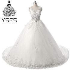Latest Luxurious V-neck Lace Up Wedding Dresses 2017 Ball Gown Beaded Crystals  Bridal Wedding f0746b82c5de