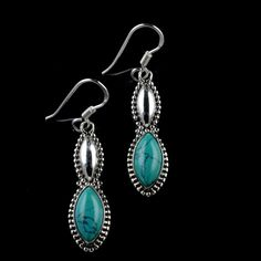 925 Sterling Silver Natural Turquoise Gemstone Handmade Earrings Jewelry #Handmade #DropDangle #Party