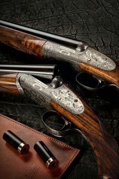 A pair of fine rose and scroll with game scene engraving 20 gauge round action sidelock shotguns.New Guns - Westley Richards Side By Side Shotgun, Sporting Clays, Shooting Guns, Shooting Sports, Double Barrel, Custom Guns, Hunting Rifles, Firearms, Shotguns