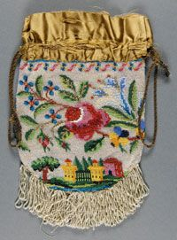Woman's Beaded Bag    Made in United States  Mid- 19th century    Artist/maker unknown, American    Knitted bead decoration of large flowers with small scene of a house, repeated on both sides; lined with tan silk  9 1/16 x 6 5/16 inches (23 x 16 cm)