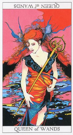 Love and Mystery Tarot by Yoshitaka Amano: Queen of Wands, the sunshine queen, mistress of positive energy, generous with her time Yoshitaka Amano, Hieronymus Bosch, Tarot Readers, Oracle Cards, Tarot Decks, Tarot Cards, Occult, Wands, Illustration Art