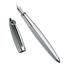 ST Dupont Streamline-R fountain pen in brushed-palladium finish, Also in black Fountain Pen Drawing, Fountain Pen Nibs, Pen Turning, Pens And Pencils, Dip Pen, Writing Instruments, Notebooks, Stationary, Wall