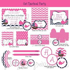 Girl Nautical Theme Party Decorations  Printable Nautical Party  Decorations  Pink, White And Blue. Nautical Baby Shower ...