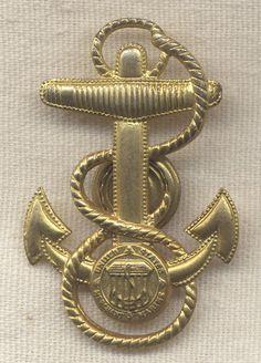 Very Rare WWII Merchant Marine Petty Officer Cap Badge by Vanguard