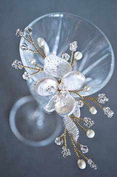 Bridal Hair Pin Blossom Pearls & Crystals Hair by JanaRoyaleDesign