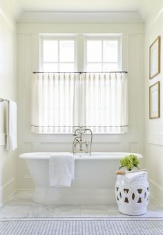Bathroom Window Coverings Design the Highlands – Sarah Bartholomew Bathroom Window Coverings, Small Bathroom Window, Bathroom Window Curtains, Home Curtains, Bathroom Windows, White Bathroom, Panel Curtains, Modern Bathroom, Master Bathroom