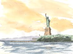 Statue of Liberty, New York City Watercolor prints and note cards of over 250 lighthouses all over the USA. Start your collection today. Original paintings by sailor/artist Alfred La Banca, Darien, CT