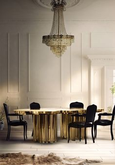 Fortuna Dining Table by Boca do Lobo   a shimmering statement piece that unites Boca do Lobo's one of a kind design aesthetic and passion for Gold. www.bocadolobo.com