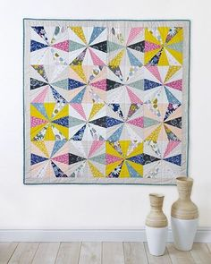 """Good morning everyone! Swooning over this splendid """"Calliope"""" quilt made by our dear @sharonhollanddesigns using a mixture of #Sketchbookfabrics and #Pureelements! This beauty was featured in the winter issue of Modern Patchwork Mag. Be sure to pick up your copy today, to check out all the beautiful quilt and patchwork projects they have for you! #Artgalleryfabrics"""