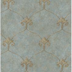 ARS26163 Blue Shimmering Ogee - Tuscan - Artiste Wallpaper by Chesapeake Fleur de Lis pattern blue and gold