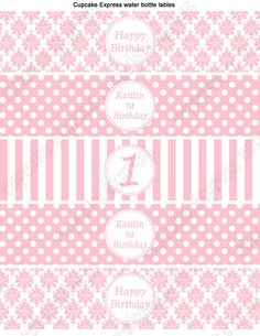 Printable Party Water Bottle Labels  pink white damask stripes polka dots