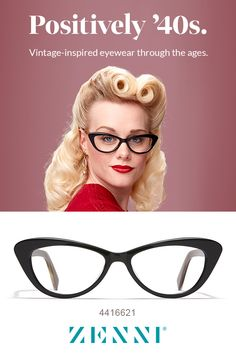 Positively We ❤️these style glasses! What outfit would you pair with these vintage glasses? 1940s Hairstyles Short, Side Bun Hairstyles, Updo Hairstyle, Prom Hairstyles, Fashion Eye Glasses, Cat Eye Glasses, 40s Fashion, Vintage Fashion, Beauty