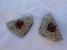 Vintage shoe buckles or scarf pins Red stone and by FunkyPatina