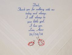 Father of the Bride Personalized Embroidered Wedding Handkerchiefs gifts for Dad Ladybugs Ladybirds cute amazing By Napa Embroidery on Etsy