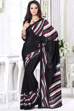 Casual Printed Black Color Saree
