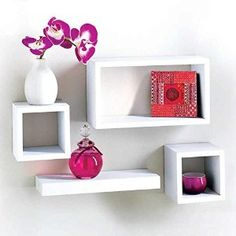 Set Of 4 Wooden Floating Cube Shelves Wall Hanging Storage Display Deco Shelving White Cube Shelves, Floating Cube Shelves, Floating Wall, Cube Storage Unit, Kitchen Storage Boxes, Bathroom Storage Shelves, Display Shelves, Wall Shelves, Shelving