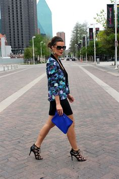 Update the LBD with a springtime floral blazer.