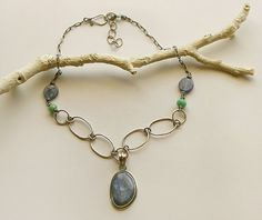 Kyanite Necklace Sterling Silver Necklace Kyanite by PrivateRoad, $63.00