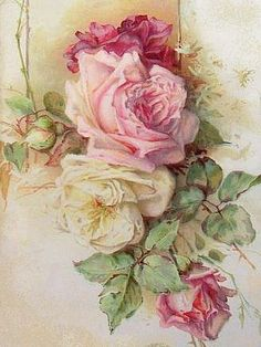Vintage Roses...I love wallpaper like this. It is so pretty. I would have some of my house decorated with such wallpaper<3