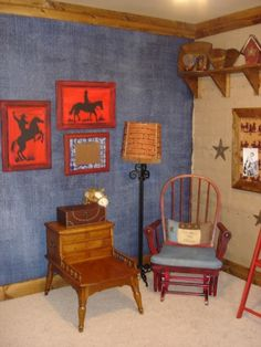 Beautiful denim and canvas wall paint used in a cowboy themed little boys room. | Stylish Western Home Decorating