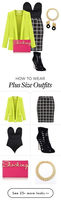 """plus size saturday night sexy in color"" by kristie-payne on Polyvore featuring Boohoo, Zizzi, Charlotte Olympia, Wet Seal and VICKISARGE"