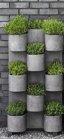 Concrete wall planters - curved