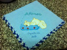 Fralda de pano de menino 100% algodão com ursinho dorminhoco para o bebé Afonso