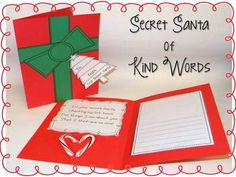 Secret Santa of Kind Words: Students pick a classmate's name, make a secret Santa gift card, then write and illustrate kind and encouraging words.  The smiles are priceless as students read the messages from their secret Santa!
