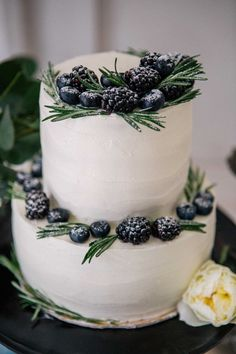 simple elegant winter wedding cake with berries weddi . - simple elegant winter wedding cake with berries wedding cakes cak - Luxury Wedding Cake, Black Wedding Cakes, Floral Wedding Cakes, Elegant Wedding Cakes, Elegant Cakes, Wedding Cake Designs, Wedding Cake Toppers, Winter Wedding Cakes, Wedding Cake Simple