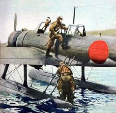 Nakajima Floatplanea Nakajima fighter-bomber floatplane in Balikpapan, Dutch East Indies, 1942 - pin by Paolo Marzioli Navy Aircraft, Ww2 Aircraft, Military Aircraft, In The Air Tonight, Imperial Japanese Navy, Air Fighter, War Thunder, Flying Boat, Ww2 Planes