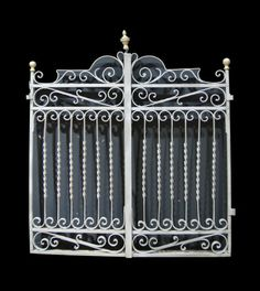 PAIR OF ORNATE ANTIQUE IRON AND BRASS PEDESTRIAN GATES - UK Architectural Heritage