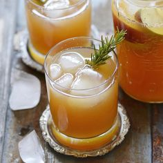 Apple cider, ginger, rosemary, allspice, and bourbon.