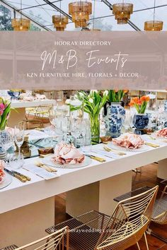 M&B Events is a family owned exclusive eventing company with the main focus of keeping up with international trends & tailor making functions to suit our clients dreams and help bring it to life. We offer services from project managing events to corporate function, year end functions, weddings, decor & furniture hiring as well as beautiful in house florals design. #southafricanweddings #weddingvendors #southafrica #hooraydirectory #hoorayweddings #furniturehire #weddingdecor