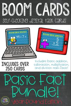 This Boom Learning bundle contains 4 decks of 66 BOOM cards™ or digital task cards that are great for practicing basic math facts! Students just fill in the blank on each card! Math facts include: Addition math facts from: +0 to +10, Subtraction math facts from: -0 to -10, Multiplication math facts from: x0 to x10, and Division math facts from: ÷1 to ÷10 Math Resources, Math Activities, 2nd Grade Math, Grade 1, Professional Development For Teachers, Math Division, Whole Brain Teaching, Math Task Cards, Math Intervention