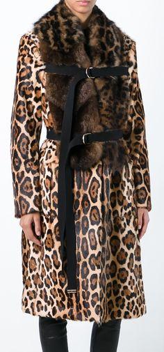 GIVENCHY  mix fur leopard print coat