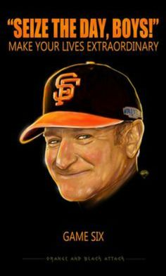 Robin Williams was a huge Giants Fan. Robin Williams, 2014 World Series, Oh Captain My Captain, Giants Baseball, San Francisco Giants, Man Humor, Comedians, A Team, Laughter