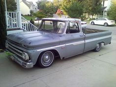 """66 chevy. 7"""" ece drop in rear. 6"""" (maybe) in front with cut springs and customized stock a arms."""
