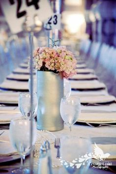 #silver pitches are vases; photo credit: A Floral Affair