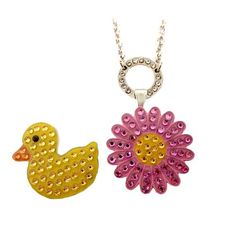 Navika Ladies Pink Sun Flower & Ducky Necklace Ball Markers