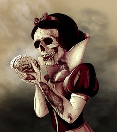 Fairytales Gone Wrong Creepy Disney, Beautiful Dark Art, Zombie Disney, Disney Horror, Dark Disney Art, Art, Horror Movie Art, Snow White Drawing, Dark Fantasy Art