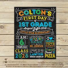 Boy First Day of School Chalkboard (Preschool, Kindergarten, 1st Grade or etc.)…