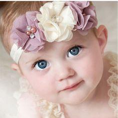 20 niños 10clrs Nueva Caliente de La Manera niños niños Bebés niñas perla diamante 3 flores Diadema Headwear Pelo de La Venda Principal Accesorios Piece