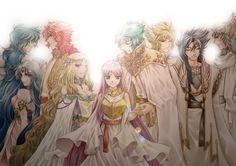Athena e os deuses que passaram por CDZ - Poseidon, Eris, Apollo, Arthemis, Abel, Hypnos, Hades e Thanatos.