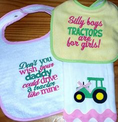 Tractor Baby Girl Burp Cloth Bib Set /  Pink & Green