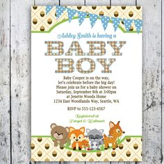 woodland baby shower invitations with owls and fox wood grain