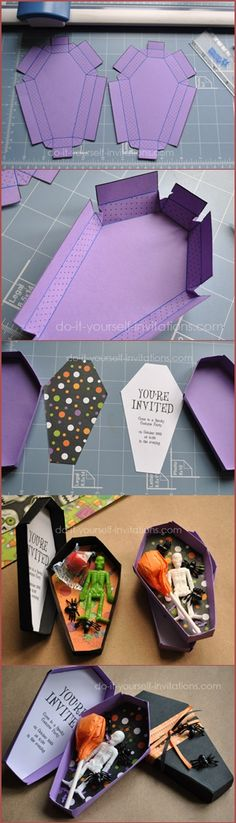 Halloween / The perfect DIY invitations for a Hotel Transylvania viewing party! Grab your whole family to rewatch the first movie before catching Hotel Transylvania 2 in a theater near you. Dulceros Halloween, Halloween Coffin, Adornos Halloween, Manualidades Halloween, Holidays Halloween, Diy Halloween Bags, The Addams Family Halloween, Halloween Party Ideas, Halloween First Birthday