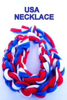 #Patriotic #necklace, #4th_of_July #statement necklace, #American #flag, usa #soccer, #world_cup #2014  #crochet $35.15