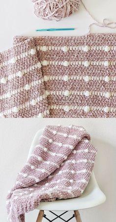 Free Pattern - Crochet Velvet Dotted Lines Blanket