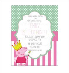 PEPPA PIG PRINCESS birthday Card -dots pink -diy Printable Party Invitation Card. on Etsy, $8.00